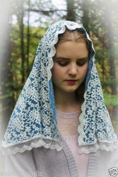 Blue-Hydrangea-Veil-Mantilla-Head-Covering-Latin-Mass-Lace-Made-in-USA