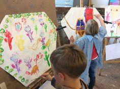Kinderfeestje vliegers schilderen