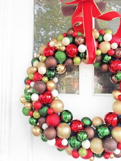 "Grosgrain: DIY 30"" Pool Noodle Ornament Wreath"