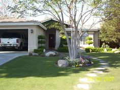 I like the flowers around the tree and the path - small front yard landscaping ideas pictures