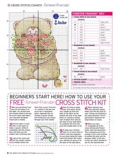 ru / Фото - The world of cross stitching 099 июль 2005 - tymannost bear with bouquet of roses Cross Stitch Letters, Cross Stitch Boards, Cross Stitch Bookmarks, Cross Stitch Baby, Loom Patterns, Stitch Patterns, Cross Stitching, Cross Stitch Embroidery, Teddy Bear Crafts