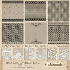 Irish Lace Overlays Set 2. You asked for PNG lace overlays! Here they are! #SnickerdoodleDesigns