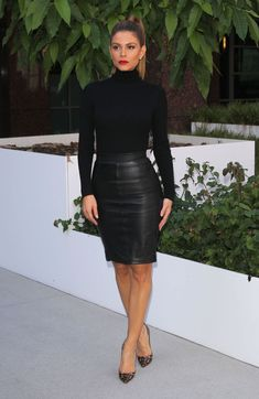 Fall outfit: The former WWE Diva donned a simple black knit turtleneck by Naked Wardrobe, while she opted for a chic leather pencil skirt from Reiss Fashion that ended just above the knee, and served to showcase her impressively toned legs Classy Outfits, Chic Outfits, Fall Outfits, Fashion Outfits, Womens Fashion, Mode Outfits, Skirt Outfits, Dress Skirt, Work Fashion