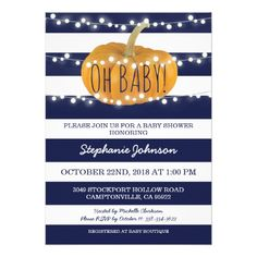 Pumpkin Fall Chic Baby Shower Card