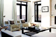 white & black living room via Eclectic Revisited blog