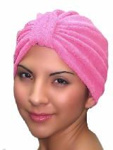 Pink Chemo Turban in terry cotton. Soft and absorbent