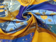 square silk scarf Klimt. Pure silk Hand painted silk scarf  yellow, blue painted silk  Batik scarf silk painting READY to SHIP by SilkMood on Etsy