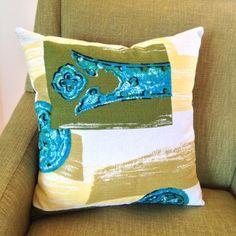 Decky Pop | Homewares | Cushions & Pillows | 1950s Barkcloth cushion cover - Handmade Emporium #handmadeemporium #handmadepillow #handmadecushion