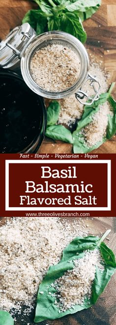 Quick and simple Basil Balsamic Flavored Salt is perfect for holidays, gifts, and eating. Gluten free, vegan, and an easy way to infuse flavor into food. Indian Food Recipes, Real Food Recipes, Cooking Recipes, Cooking Tips, Plat Vegan, Homemade Spices, Homemade Gifts, No Salt Recipes, Seasoning Mixes
