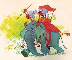 Illustration from the show & magazines for the Cantinflas Show - illustrator unknown - possibly executed by Jose Luis Moro   - elephant - color