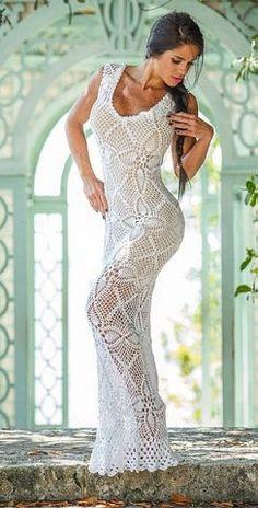 Белое платье крючком