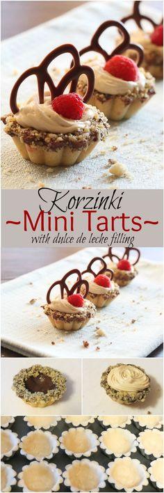 Korzinki (Mini Tarts) with Dulce de leche filling and chocolate.