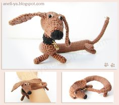 doggie Crochet Doll Pattern, Crochet Dolls, Knit Crochet, Crochet Patterns, Crochet Crafts, Sewing Crafts, Crochet Bracelet, Diy Doll, Amigurumi Patterns