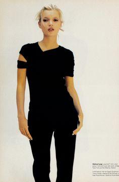 "Kate Moss "" So Nonchalant "" in Helmut Lang shot by Satoshi Saikusa for W magazine May 1996 | Fashion Editor Michel Botbol | Hair Eugene Souleiman | Make-up Pat McGrath."