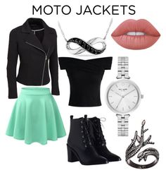 """Moto Jacket"" by deannadoodlebug ❤ liked on Polyvore featuring LE3NO, Chicwish, Zimmermann, Kate Spade, Amour, Lord & Taylor, Lime Crime and plus size clothing"