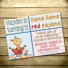 dd4da8dac9 Items similar to Digital Birthday Invitation - Print Your Own - Design Your  Own - Matching Flat Thank You Card - Llama Llama Red Pajama - 035 on Etsy