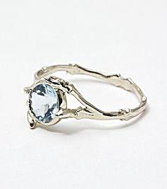 catbird::Bittersweets NY::Twig Ring with Aquamarine