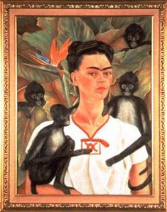 Self portrait with monkeys - by Frida Kahlo