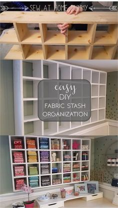 easy diy fabric stash organization - how to store your fabric, fat quarters, craft and scrapbooking supplies  ||  Sew at Home Mummy Craft Room Storage, Craft Storage Ideas For Small Spaces, Craft Room Shelves, Diy Storage, Storage Shelves, Craft Rooms, New Crafts, Creative Crafts, Diy Home Crafts