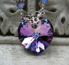Swarovski Vitrail Light Lavendar Rose Crystal Heart Pendant Necklace by HisJewelsCreations Jewelry Accessories, Jewelry Design, Jewelry Ideas, Jewelry Box, Jewelry Making, Heart Pendant Necklace, Diamond Necklaces, All Things Purple, Antique Jewelry