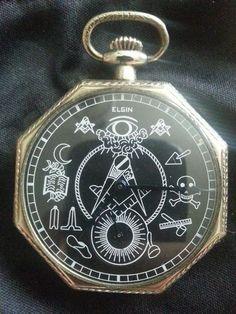 Black Masonic Elgin Pocket Watch | eBay