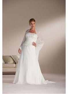 Beautiful Elegant Exquisite A-line Chiffon Strapless Wedding Dress In Great Handwork