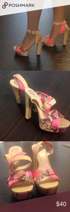 """🍒END OF SUMMER SALE🍒Vince Camuto Sandals Vince Camuto printed ankle heels. Beige and pink color. About 5"""" in. Plataform ❤️ just a small hole not visible 👁 the last pic. Vince Camuto Shoes Sandals"""