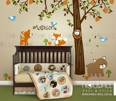 Carters Woodland Friends -Tree Forest Friends with Custom Name ,Bear Wall Decal Nursery,Baby Wall Decals Wall Sticker by NouWall on Etsy https://www.etsy.com/listing/234220360/carters-woodland-friends-tree-forest