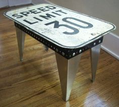Industrial metal sign table, speed limit sign coffee table.