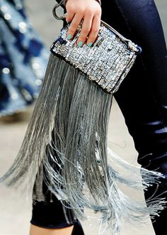 silver fringe clutch