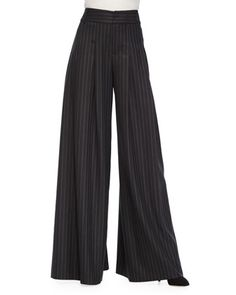 Pinstripe Wide-Leg Flutter Pants, Black by Alice + Olivia at Bergdorf Goodman.