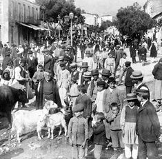 In Sparta - villagers and country men on market day - W. through Ares St. to mountains, Greece. copyrighted by Underwood & Underwood. Library of Congress Prints and Photographs Division Washington, D. Sparta Greece, Athens Greece, Greece Photography, Travel Photography, Greece Pictures, Still Picture, Yesterday And Today, Library Of Congress, Greece Travel