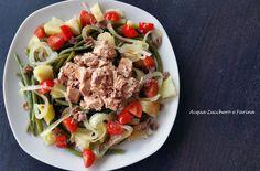 Fagiolini verdi in insalata con tonno e pomodorini