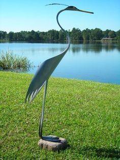 Metal Yard Art, Scrap Metal Art, Pvc Pipe Crafts, Wind Sculptures, Yard Ornaments, Metal Birds, Welding Art, Bird Patterns, Blue Heron
