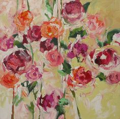 Artist meadow gist oil on canvas contemporary figurative original floral painting abstract art fauve impressionist flowers still life roses landscape acrylic painting on canvas mightylinksfo