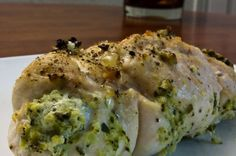 Chicken Breasts Stuffed With Basil, Broccoli, Goat Cheese, & Parmesan from – A Wrinkle in Thyme.   I substituted cream cheese for goat. Otherwise it was amazing!