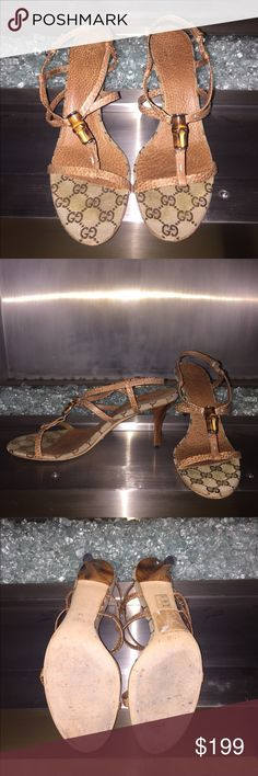 """Gucci heel sandals Gucci GG monogram bamboo sandals in tan/beige. In great condition. Has a 3"""" heel and comes with duster bag. Gucci Shoes Sandals"""