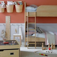 Vertical storage next to bunk beds solves the lack-of-a-night-table dilemma in a child's room. Love the bunk beds. Girls Bedroom, Bedroom Decor, Bedroom Ideas, Childrens Bedroom, Bed Ideas, Lego Bedroom, Bedroom Storage, Dream Bedroom, Wall Ideas