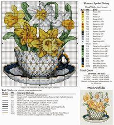 """Милые сердцу штучки: Календарь """"Букетики в чашках"""" от Vermillion Stitchery"""