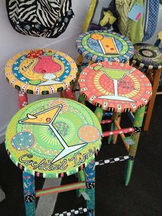 Painted barstools for the Tiki Bar Whimsical Painted Furniture, Painted Chairs, Hand Painted Furniture, Funky Furniture, Paint Furniture, Bar Furniture, Furniture Projects, Furniture Makeover, Hand Painted Stools
