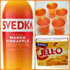 Mango Pineapple Jello Shots 1 package mango Jell-o 1 cup boiling water cup cold water cup Mango Pineapple vodka Mix jello and boiling water. Best Jello Shots, Jello Pudding Shots, Vodka Jello Shots, Peach Jello Shots, Fun Shots, Party Drinks, Cocktail Drinks, Fun Drinks, Cocktails