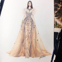 ideas fashion illustration art elie saab for 2019 Clothing Sketches, Dress Sketches, Drawing Sketches, Fashion Design Drawings, Fashion Sketches, Drawing Fashion, Paper Fashion, Fashion Art, Elie Saab Haute Couture
