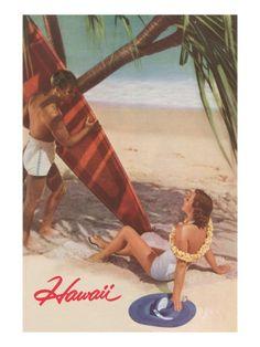 Hawaiian Travel Ads (Vintage Art) Posters, Prints, Paintings & Wall Art for Sale Hawaii Vintage, Vintage Tiki, Vintage Hawaiian, Vintage Beach Posters, Vintage Prints, Voyage Hawaii, Woman On Beach, Standup Paddle Board, Surfboard Art