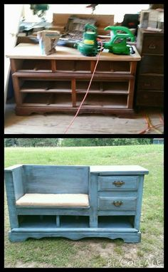 We Took An Old Dresser And Turned It Into A Great Bench With Shoe Cubby Drawers This Was Made By 239 Wood Designs Iuka Ms