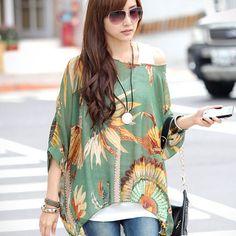Oversize New Fashion Batwing Blouse Tops Loose Shirt Chiffon Womens Bohemian   eBay
