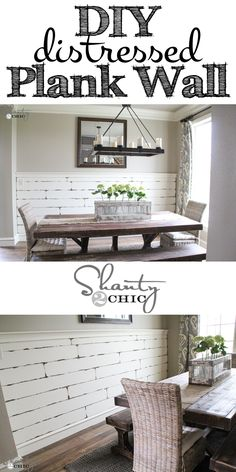 Very EASY DIY Distressed Plank Wall! For decoration anywhere needed Sweet Home, Home Decoracion, Plank Walls, Plank Wall Bedroom, Stair Walls, Wood Walls, Home And Deco, Diy Home Improvement, My Living Room