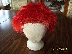 Knitted Red Fur Tam Hat Beanie Cap Newsboy by SlouchyHatsBoutique, $18.00