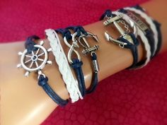 Another Mother/Daughter pair of bracelets, or would be cute on a boyfriend/girlfriend for Valentine's Day. Infinity Love Anchor Bracelet SET in Navy & White by ZodiacGirls, $14.49