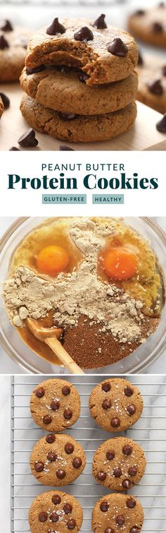 All you need are 4-ingredients in order to get the most delicious peanut butter protein cookies on the internet! Protein Cookie Recipe, Peanut Butter Protein Cookies, Cookie Recipes, Protein Rich Foods, High Protein Recipes, Protein Snacks, Healthy Treats, Healthy Desserts, Healthy Recipes