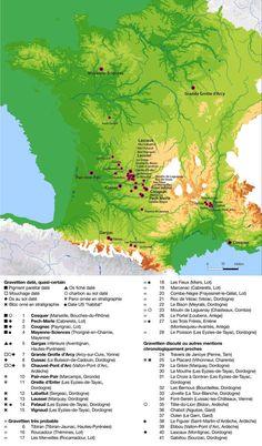 Map of prehistoric cave painting and sculpture sites found in France, as of Ancient Art, Ancient History, Lascaux, Chauvet Cave, Art Pariétal, Paleolithic Art, Prehistoric World, Dordogne, Historical Maps